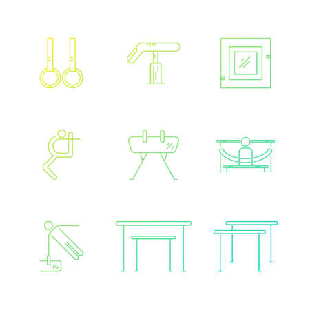 exersice: Perfect artistic gymnastics icons and symbols collection made in modern linear vector style. Sports vector logo design template. Modern linear icon set.