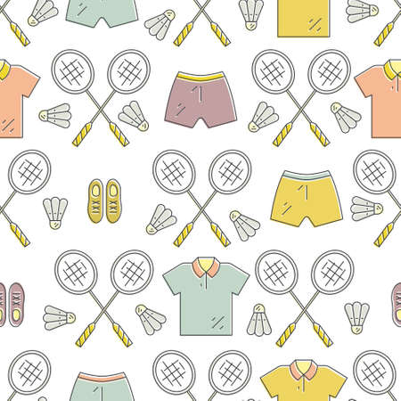 sport club: Modern seamless pattern with badminton equipment. Great background for sport club, active lifestyle banner or other types of athletic flyers. Illustration
