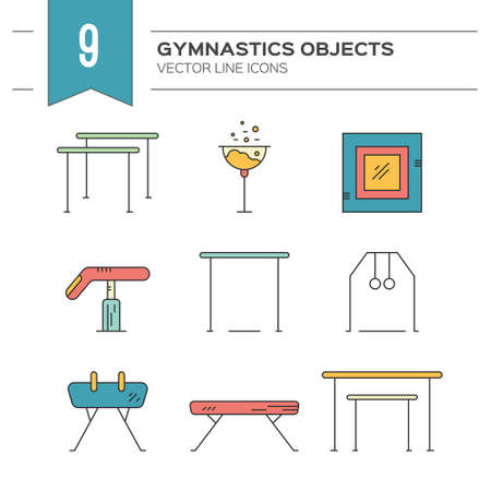 gymnastics sports: Artistic gymnastics icon collection made in modern linear vector style. Athlete or gymnast icon collection. Unique and modern set isolated on background.