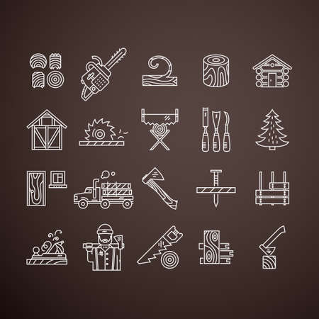 woodwork: Modern line style collection of woodwork tools, carpentry gear and logger related items. Timber industry icon collection - vector set. Unique and modern set isolated on background.