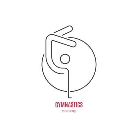 exersice: Modern logo concept with a gymnast and a hoop. Vector line style logotype template. Isolated and easy to edit business identity element. Fitness and sport series.