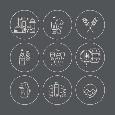 distillery: Set of beer icons - beer mugs, beer bottles, barrels and brewing process. Modern pictogramm collection for all kinds of beer design. Octoberfest icon series. Clean and modern line style vector art.