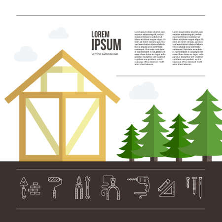 Perfect background for timber industry flyer or banner with frame house. Tools, materials and house building process.Place for your text.