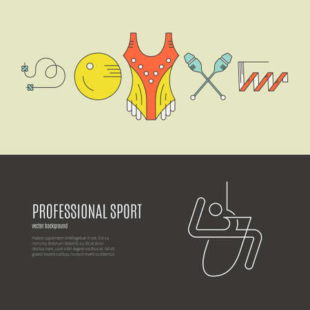 exersice: Modern and unique rhythmic gymnastics concept made in modern linear vector style. Great graphic for announcement, advertisement, flyer or banner. Sports and fitness vector series.