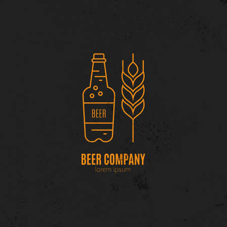 artisan: Line style logotype template with beer bottle and wheat for brewery and other types of craft beverages. Easy to use business template. Illustration