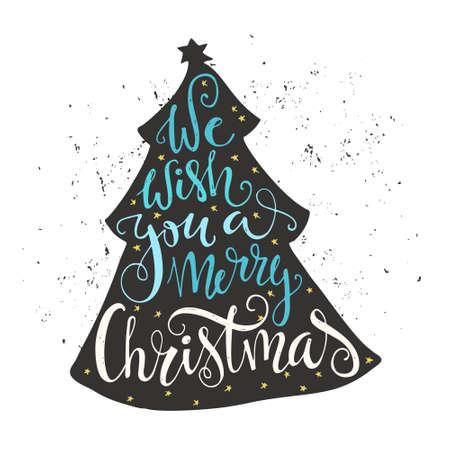 the christmas: Vi auguriamo un buon Natale - citazione in un albero di Natale. Lettering unico. Vector art. Grande elemento di design per schede di saluti, striscioni e volantini.