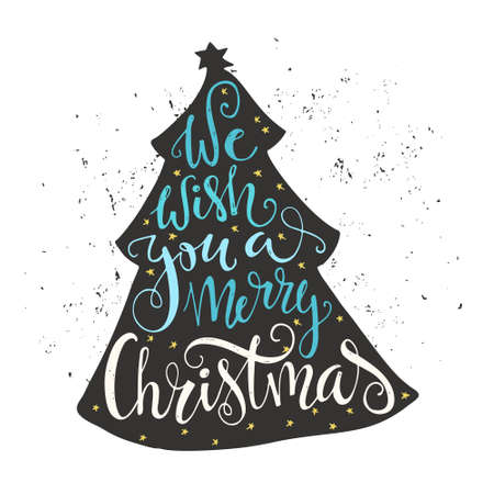 merry: We wish you a merry Christmas - quote in a christmas tree. Unique lettering. Vector art. Great design element for congratulation cards, banners and flyers.