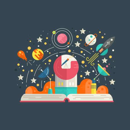 imaginacion: Espacio concepto de exploración - libro abierto con los elementos del sistema solar, incluyendo cohetes, meteoritos, planetas, estrellas. Concepto Imaginación hecho en vector estilo plano.