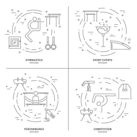 Concepto de línea fina del vector con el equipo de gimnasia artística y elementos. Gran gráfico para el anuncio, anuncio, folleto o banner. El deporte y vector de la serie de la aptitud. Foto de archivo - 47308571