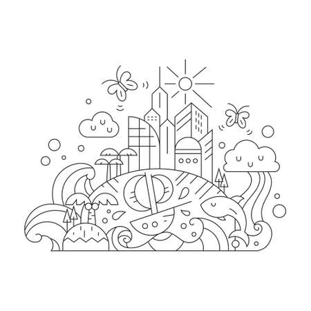 modern buildings: Thin line vector illustration of fantasy island with modern buildings, sun, rainbow, butterflies, palm trees. Imagination concept. Childrens colorbook design element. Illustration