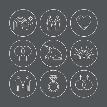 gay marriage: Gay marriage and gay love vector thin line icons. LGBT symbols including unicorn and rainbow. Man holding hands with man.