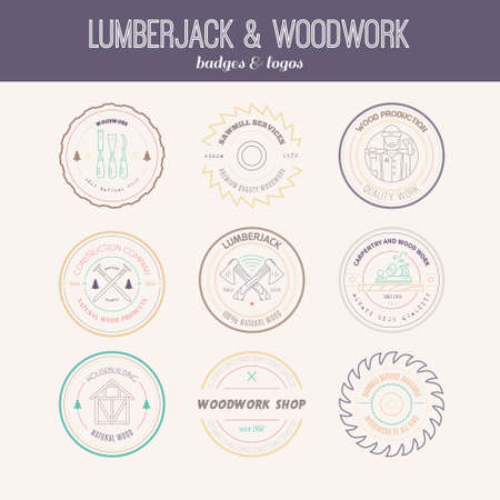 herramientas carpinteria: Set of vintage carpentry logotypes made in vector. Wood work and manufacture label templates. Detailed emblems with timber industry elements and carpentry tools. Woodworking badges with sample text for your business. Vectores