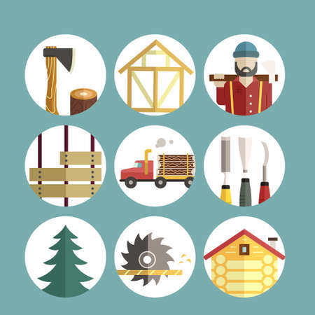 woodwork: Woodwork and timber industry icon collection - vector set of lumberjack symbols. Unique and modern set isolated on background.