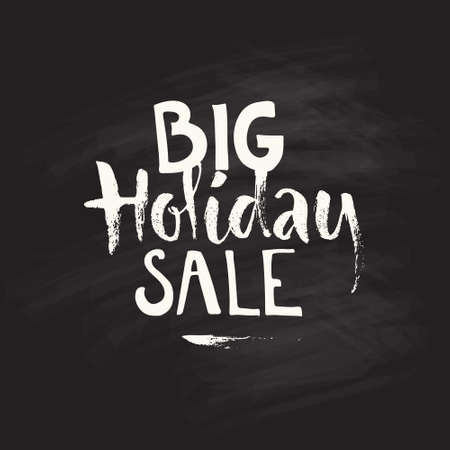 holiday: Christmas holiday sale - handdrawn typography on chalk background. Vector clipart. Illustration