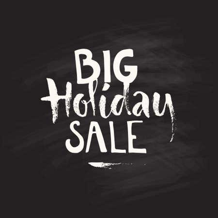 vacanza: Vendita vacanze di Natale - la tipografia strappo su sfondo di gesso. Clipart vettoriali. Vettoriali