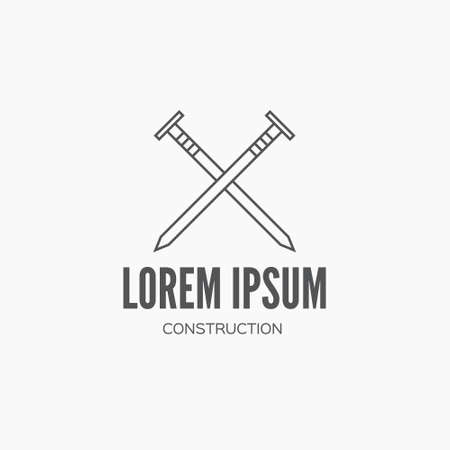 tree services company: Detailed graphic with carpenter element - nails - made in vintage style. Vector design for label, badge, t-shirt or for other type of graphic. Woodwork vector illustration.
