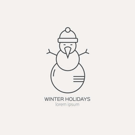 snowman isolated: Line style template with snowman. Isolated on background and easy to use. Perfect for your business. Clean and minimalistic. Christmas series.