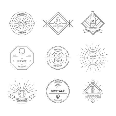 winetasting: Set of hipster style and labels for wine and winery. Set of design elements for vineyard. Vector vintage design.