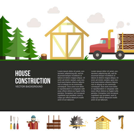 log on: Easy to edit vector template for woodwork industry with modern frame house construction and log truck. Modern design element for flyer template, advertisement or commercial add.