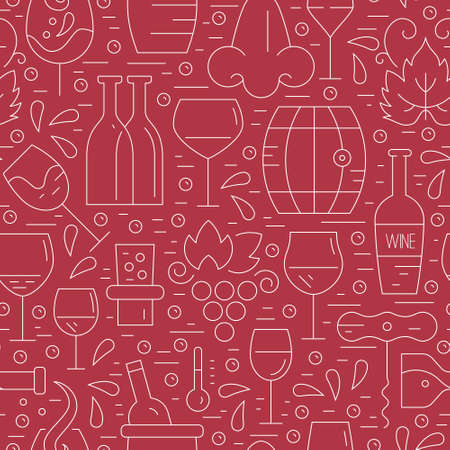 barrel tile: Vector seamless pattern with wine and vineyard elements made in modern line style. Perfect background for restaurant menu and wine list. Illustration