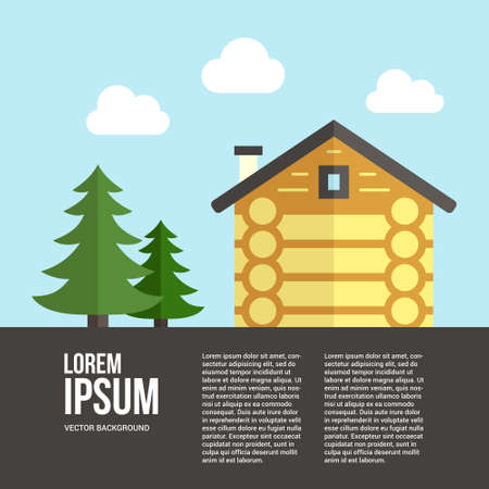 woodwork: Easy to edit vector template for woodwork industry with modern log house. Modern design element for flyer template, advertisement or commercial add.