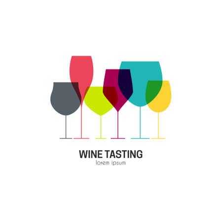 vinho: moderno perfeito para bar ou restaurante com diferentes copos de vinho. degustação de vinhos elemento de design. Crachá ou etiqueta para o vinho, adega ou vinho da casa