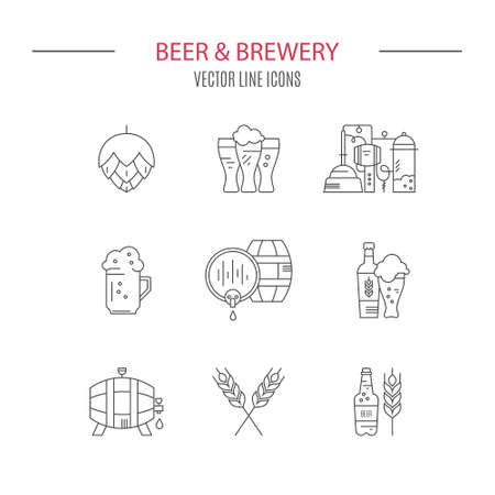 distillery: Collection of brewery icons and different beer symbols for pub, bar or other brewing related business. Octoberfest icon series. Clean and modern line style vector art.