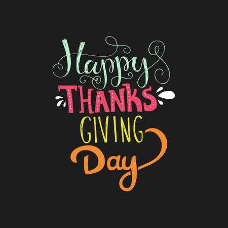 Handdrawn lettering for Thanksgiving card. Thanksgiving typography. Thanksgiving design for greeting card, flyer, banner, poster. Vector lettering collection. Illustration