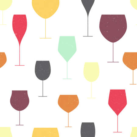 barrel tile: Abstract background with colorful glasses. Wine and winery seamless pattern made in vector.