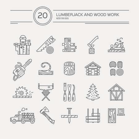 leñador: Maderas icono de la industria colección - vector conjunto. Colección de estilo de línea moderna de herramientas de carpintería, artes de la carpintería. Conjunto único y moderno aislado en el fondo. Vectores