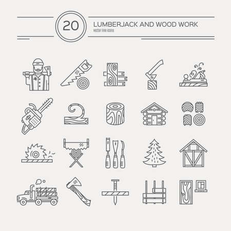 woodcutter: Timber industry icon collection - vector set. Modern line style collection of woodwork tools, carpentry gear. Unique and modern set isolated on background.