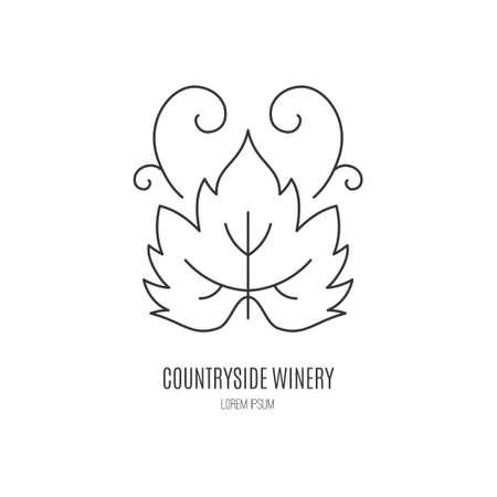 leaf line: Modern line style with wine leaf. Winery symbol. Illustration