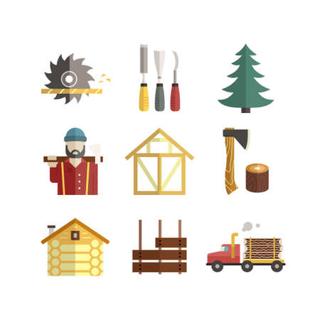 woodwork: Modern collection of flat style vector icons with different timber industry, woodwork and lumberjack icons. Unique and modern set isolated on background. Illustration