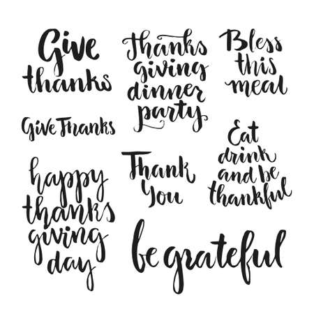 agradecimiento: colección Happy letras de Acción de Gracias. handdrawn tipografía. Acción de Gracias diseño de la invitación del partido. escritura del cepillo. Arte del vector.