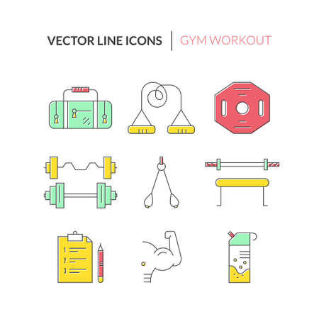 pictogramm: Fitness and active lifestyle symbols. Line icon collection.