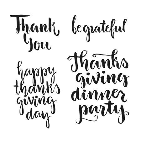 give thanks to: Happy Thanksgiving handdrawn typography collection. Unique art. Thanksgiving party invitation design. Vector lettering collection. Illustration