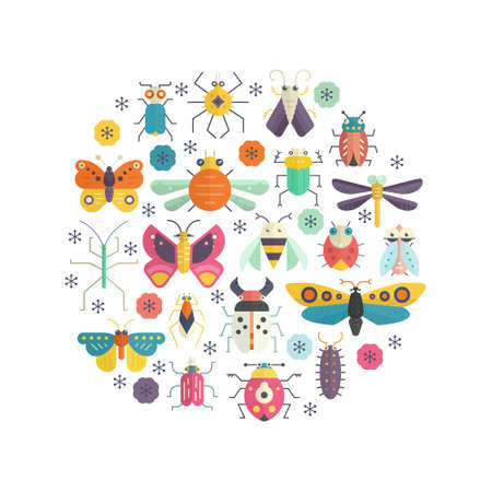 cartoon bug: Cute bugs and insects circle design element made in vector. Colorful concept for house decoration, t-shirt design.