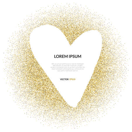 Abstract vector background with gold glitter and a shape of a heart. 100% vector - easy to use and edit. Gold sparkles isolated on white with place for your text. Design for wedding card, valentine, save the date.