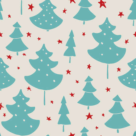 christmas wrapping: Handdrawn Christmas seamless pattern with Christmas trees and decoration. Holiday background for web page. Gift wrapping paper. Unique handdrawn texture.