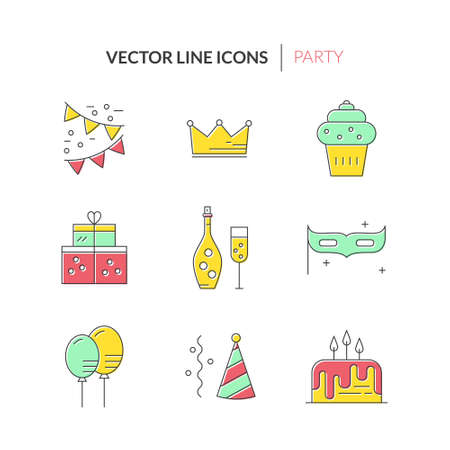 birthday decoration: Modern line style icons with party and event planning icons. Birthday cake, champagne, decoration, presents and other celebration symbols.