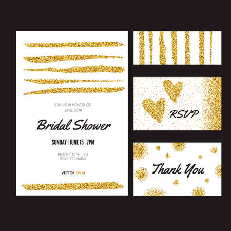 golden shower: Collection of banners, flyers or invitations with gold background. Cards with gold glitter. 100% vector design template - easy to use and edit. Gift card, save the date, bridal shower or other event design element layout.
