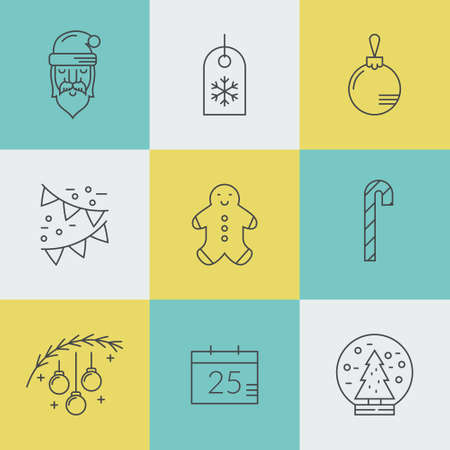 pictogramm: Christmas symbols made in line style vector. Winter holiday symbol collection.  Santa claus, Christmas tree, ginger man and other Christmas icons.