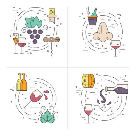 bottle nose: Colorful wine concept with different winemaking elements including bottle, grape, corckscrew, nose. Vector line series. Illustration
