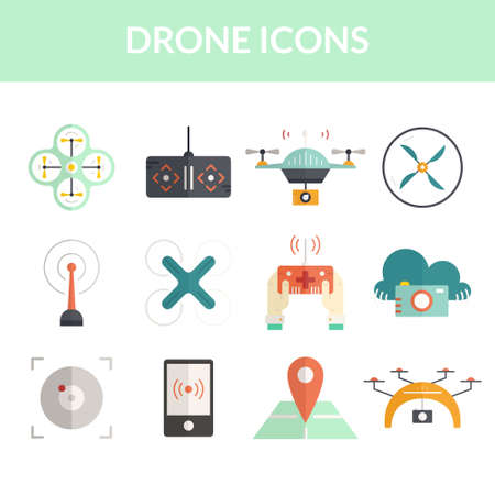 pictogramm: Drone vector icons. Vector collection of icons with drones, quadrocopters, muticopters. Drone technology.