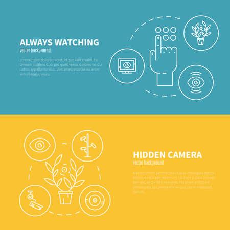 macchina fotografica: banner di videosorveglianza. Telecamere di sicurezza e il concetto di monitoraggio. Icone CCTV realizzati in stile linea moderna. Vector volantini lineari modello.