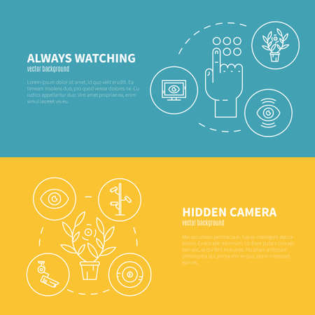 monitored area: Video surveillance banners. Security cameras and monitoring concept. CCTV icons made in modern line style. Vector linear flyers template. Illustration