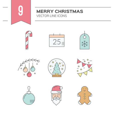 christmas icon: Vector winter holiday symbol collection. Christmas symbols. Santa claus, Christmas tree, ginger man and other Christmas icons. Illustration