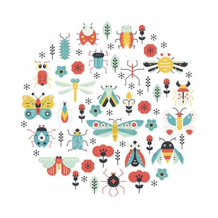 piojos: Bichos e insectos diseño del cartel. Elemento de decoración círculo hecho en vector con criaturas lindas. Vectores