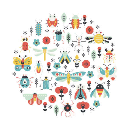creatures: Bugs and insects poster design. Circle decoration element made in vector with cute creatures. Illustration