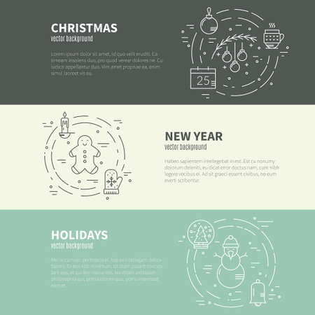 aquifolium: Vector line concept with different christmas and new year objects.Clean and easy to edit. Modern line vector christmas concept.Clean and easy to edit. Modern design element for flyer template, advertisement or commercial add.